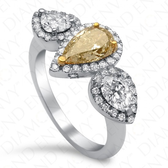 2.15 Carat Fancy Brownish Yellow Diamond Ring in 18K White Gold