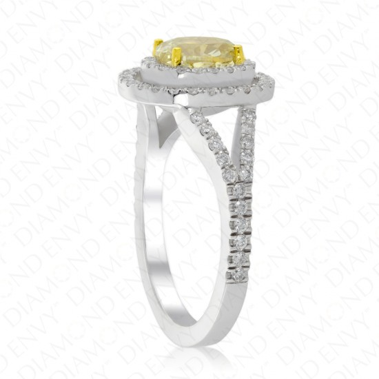 1.57 Carat Fancy Light Yellow Diamond Ring in 18K White Gold