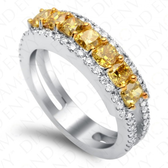 2.07 Carat Seven Stone Fancy Deep Yellow Diamond Ring in 18K White Gold