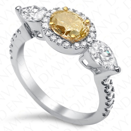 1.88 Carat Fancy Light Brownish Yellow Diamond Ring in 18K White Gold