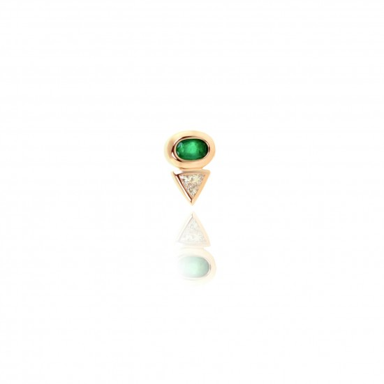 0.54 Carat Diamond and Oval Cut Natural Emerald Earring