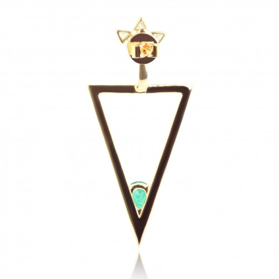 0.59 Carat Natural Colombian Emerald Earring Jacket in 18K Yellow Gold