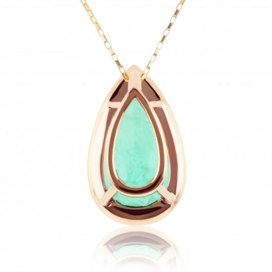 7.10 Carat Natural Colombian Emerald Pendant in 18K Pink Gold