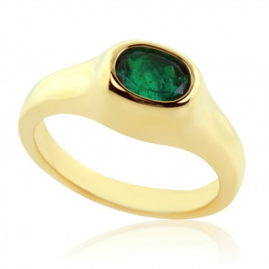 1.33 Carat Natural Emerald Ring in 18K Yellow Gold