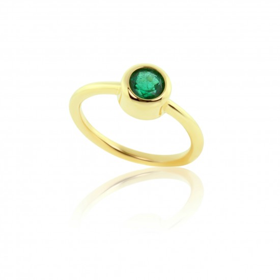 0.91 Carat Natural Colombian Emerald Ring in 18K Yellow Gold