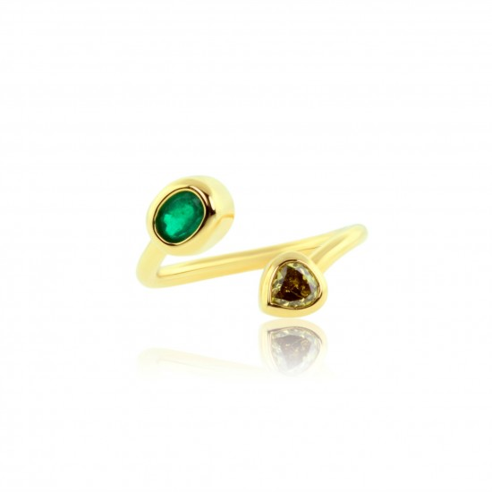 1.02 Carat Yellow Diamond and Oval Cut Natural Emerald Ring