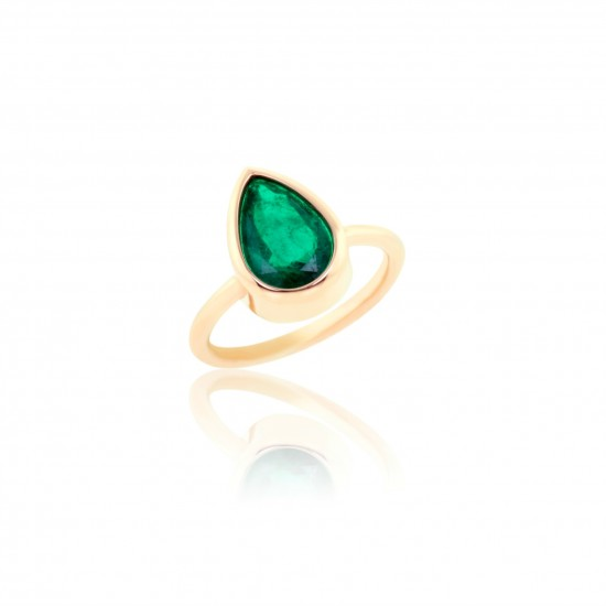 2.85 Carat Natural Emerald Ring in 18K Pink Gold