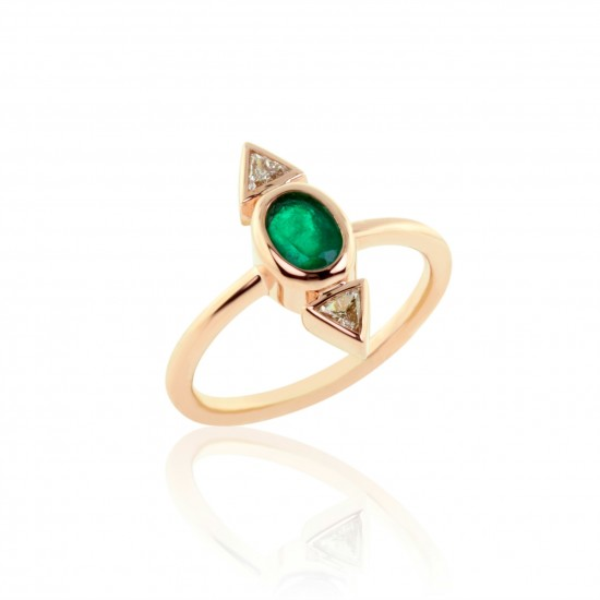 0.89 Carat Diamond and Oval Cut Natural Emerald Ring