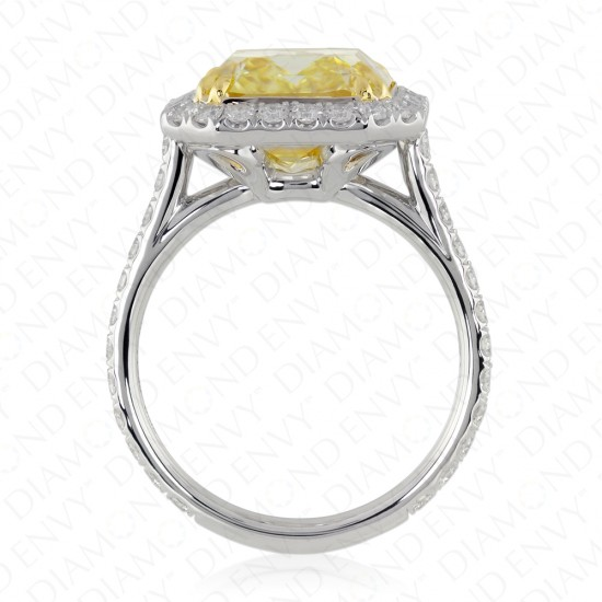 6.85 Carat Fancy Yellow Diamond Ring in Platinum & 18K Gold