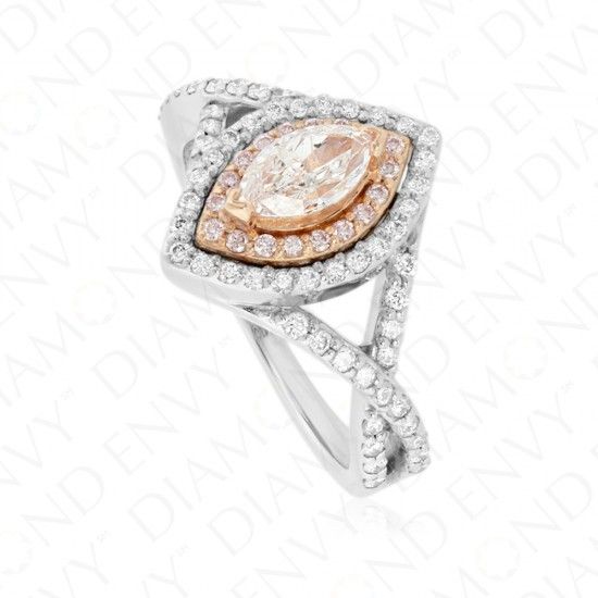 1.03 Carat Very Light Pink Diamond Ring in 18K Two-Tone Gold