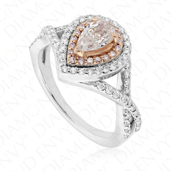1.05 Fancy Light Pink Diamond Ring in 18K Two-Tone Gold