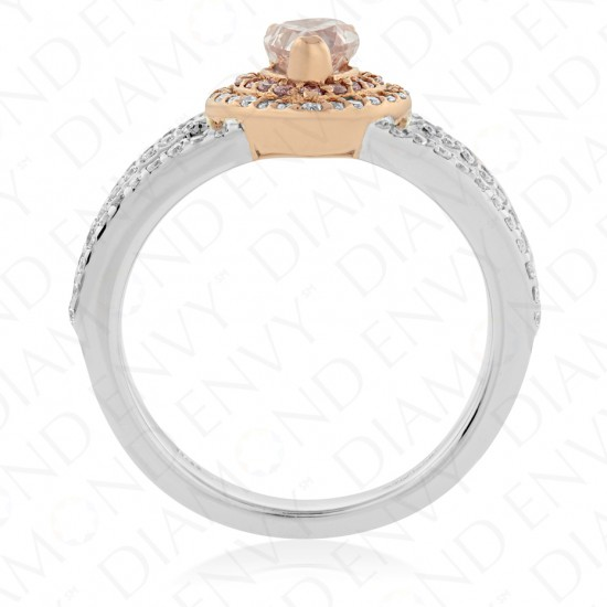 0.98 Carat Fancy Light Pink Diamond Ring in 18K Two-Tone Gold
