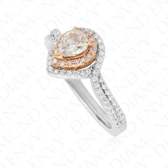0.84 Carat Very Light Pink Diamond Ring in 18K Two-Tone Gold