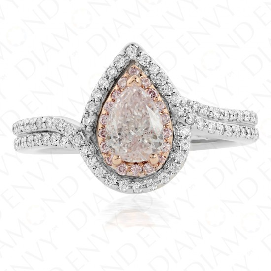 0.96 Carat Light Pink Diamond Ring in 18K Two-Tone Gold