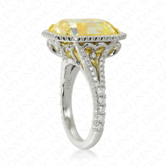 12.01 Carat Fancy Intense Yellow Diamond Ring in Platinum/18K Gold