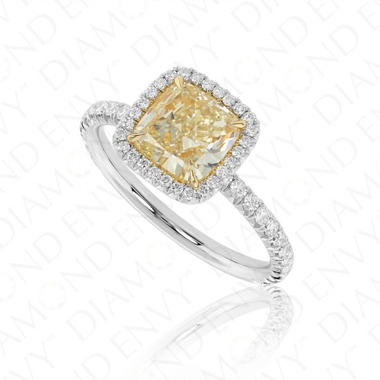 2.34 Carat Yellow Diamond Ring in Platinum