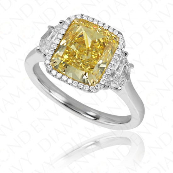 4.05 Carat Fancy Vivid Yellow Diamond Ring in Platinum and 18K Gold