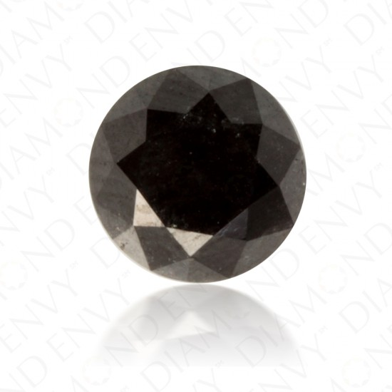 1.60 Carat Round Brilliant Natural Fancy Black Diamond
