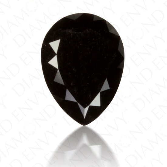 1.57 Carat Pear Shape Natural Fancy Black Diamond