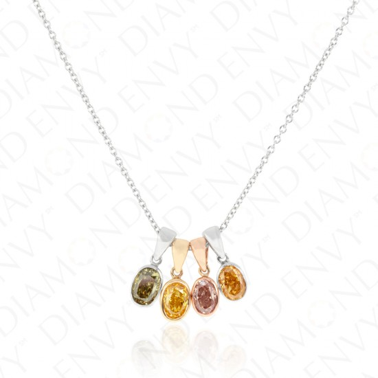 1.46 Carat Fancy Multi-Colored Diamond Pendants in 14K Gold