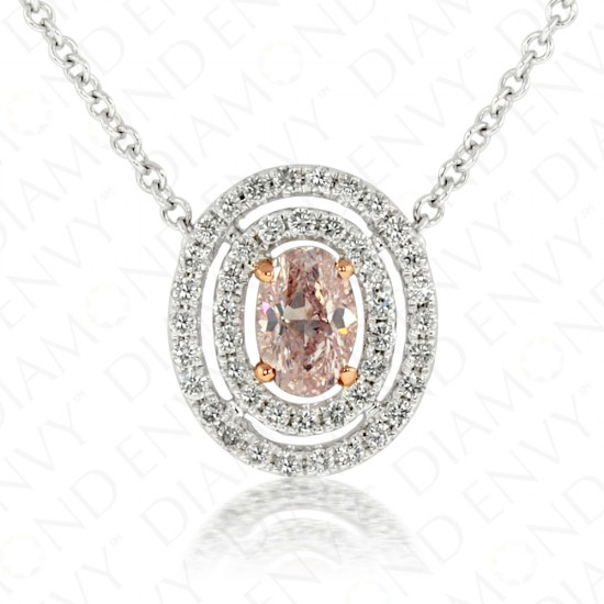 0.64 Carat Fancy Light Pink Diamond Necklace in 18K White Gold