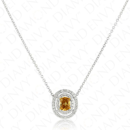 0.85 Carat Fancy Deep Brownish Orangy Yellow Diamond Pendant in 18K Two-Tone Gold