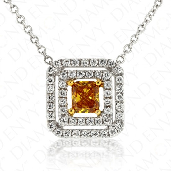0.64 Carat Fancy Deep Yellowish Orangy Brown Diamond Necklace in 18K Two-Tone Gold