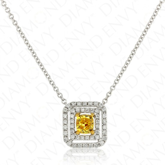 0.73 Carat Fancy Deep Brownish Orangy Yellow Diamond Pendant in 18K Two-Tone Gold