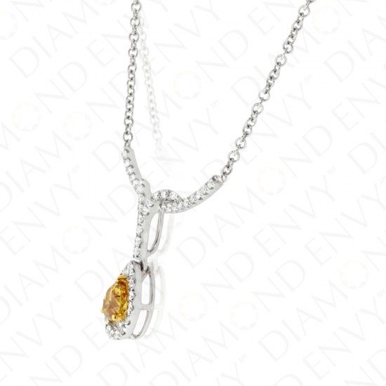 0.90 Carat Fancy Deep Brown Yellow Diamond Necklace in 18K Two-Tone Gold