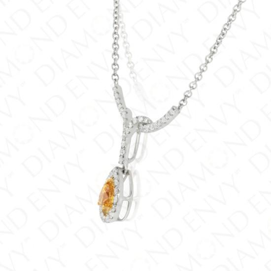 1.01 Carat Fancy Deep Yellow Orange Diamond Necklace in 18K Two-Tone Gold