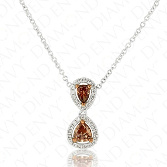 0.66 Carat Fancy Dark Orangy Brown Diamond Necklace in 18K Two-Tone Gold
