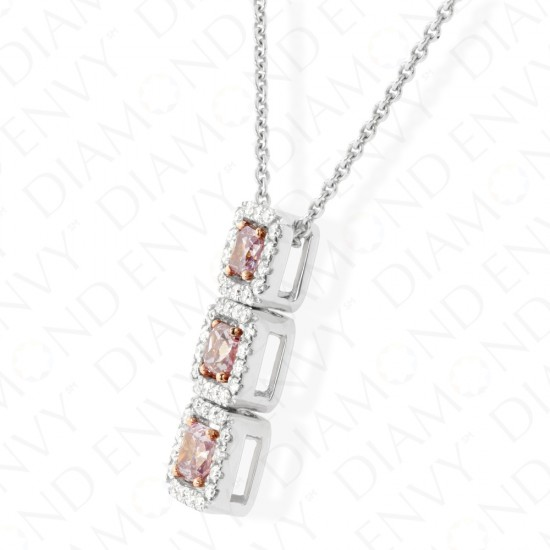0.63 Carat Fancy Intense Pink-Purple Diamond Necklace in 18K Two-Tone Gold