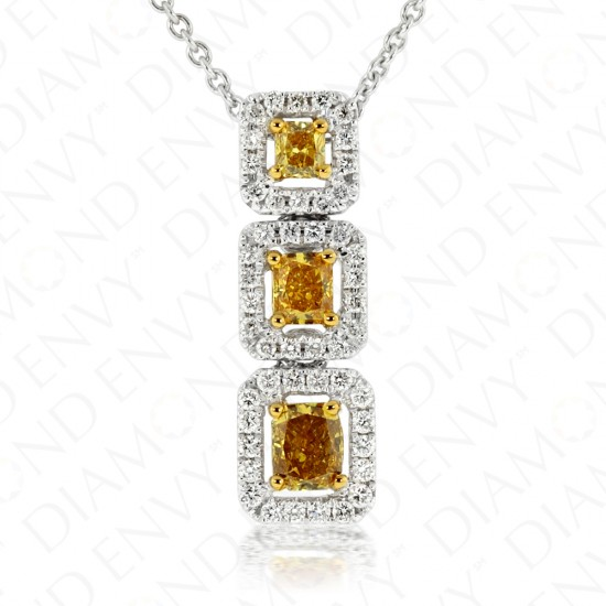 0.88 Carat Fancy Vivid Yellow Diamond Necklace in 18K Two-Tone Gold