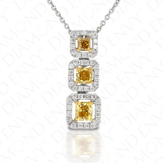 Three Stone Graduated Drop Diamond Pendant with Halos