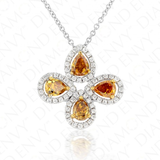 1.74 Carat Fancy Deep Orangy Yellow Diamond Necklace in 18K Two-Tone Gold