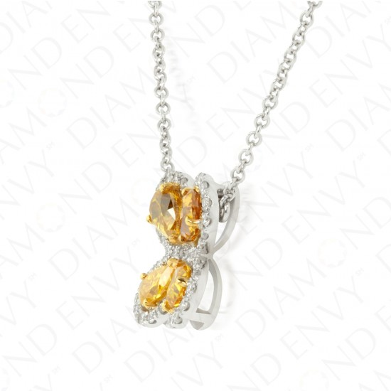 1.22 Carat Fancy Colored Diamond Necklace in 18K Two-Tone Gold
