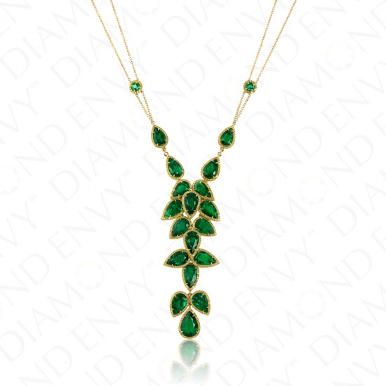17.18 Carat Yellow Diamond and Natural Emerald Necklace in 18K Yellow Gold