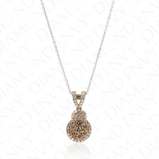 0.74 Carat Brown Diamond Pendant in 14K Rose Gold