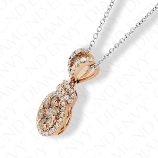 0.74 Carat Brown Diamond Pendant in 14K Rose Gold