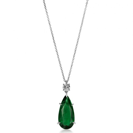 4.49ct Diamond and Pear Shaped Natural Emerald Pendant