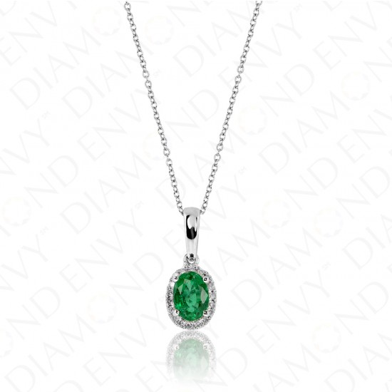 0.84 Carat Diamond and Natural Emerald Pendant in 18K White Gold