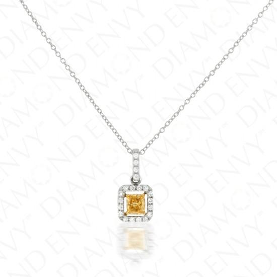 Yellow Diamond Pendant with Floating Halo