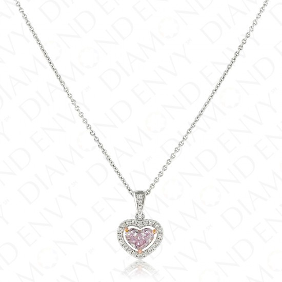 diamond rose in necklace argyle halo gia pink white amazon dp gold pendant com set