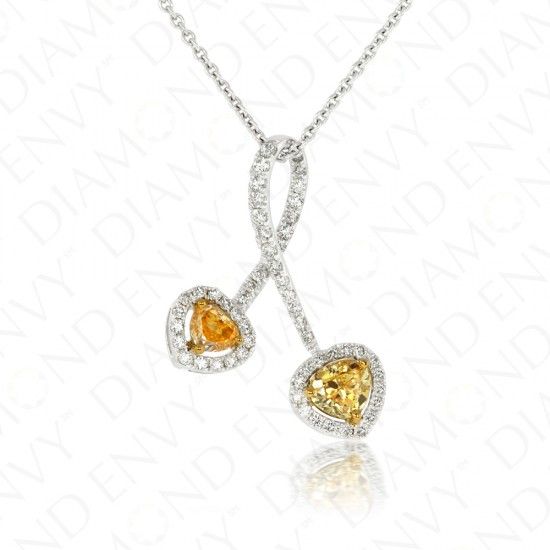 0.89 Carat Fancy Yellow Diamond Pendant in 18K Two-Tone Gold