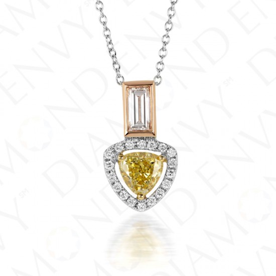 0.78 Carat Fancy Intense Yellow Diamond Pendant in 18K Three-Tone Gold