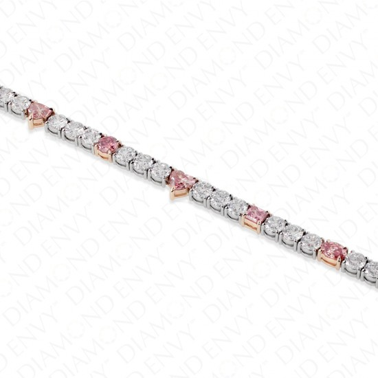 10.33 Carat Fancy Pink Diamond Bracelet in Platinum and 18K Rose Gold