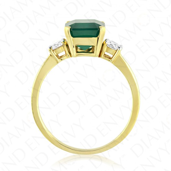2.51 Carat Diamond and Natural Emerald Ring in 18K Yellow Gold