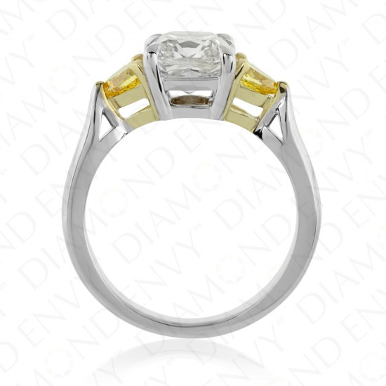 2.57 Carat Diamond Ring With Fancy Vivid Orangy Yellow Diamond Side Stones in 18K Two-Tone Gold