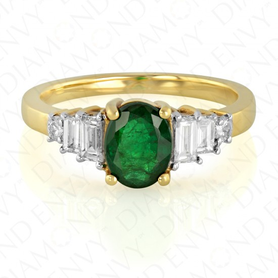 1.61 Carat Diamond and Natural Emerald Ring in 18K Yellow Gold
