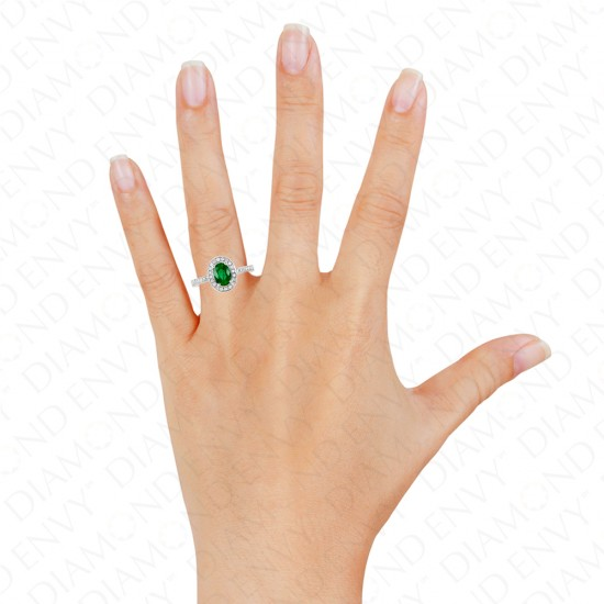 0.78 Carat Natural Emerald and Diamond Ring in 18K White Gold